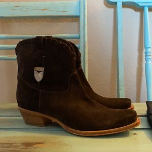 Ralph Lauren Purple Label Brown Suede Ankle Boots